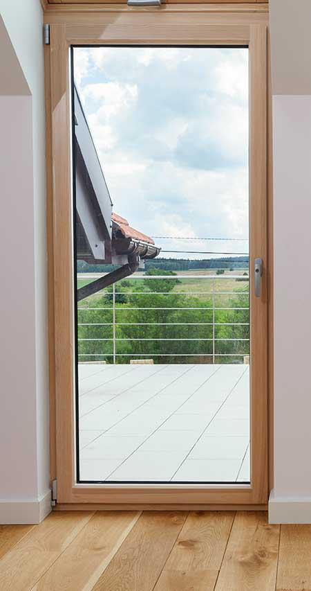 glass door timber frame
